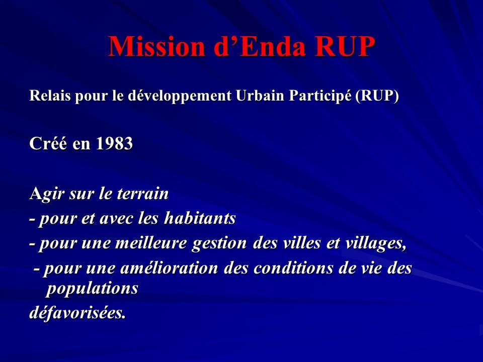 Mission dEnda RUP Relais pour le développement Urbain Participé (RUP) Créé en 1983 Agir sur le terrain - pour et avec les habitants - pour une meilleu