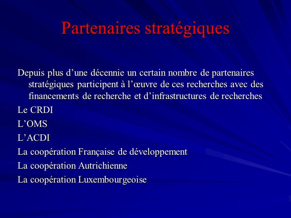 Partenaires stratégiques Depuis plus dune décennie un certain nombre de partenaires stratégiques participent à lœuvre de ces recherches avec des finan