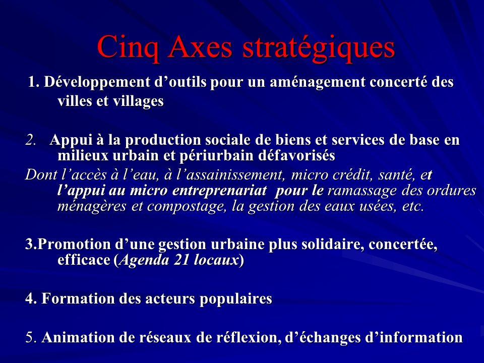 Cinq Axes stratégiques Cinq Axes stratégiques 1. Développement doutils pour un aménagement concerté des villes et villages 1. Développement doutils po