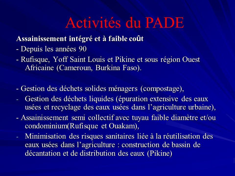 Assainissement intégré et à faible co û t - Depuis les années 90 - Rufisque, Yoff Saint Louis et Pikine et sous région Ouest Africaine (Cameroun, Burk