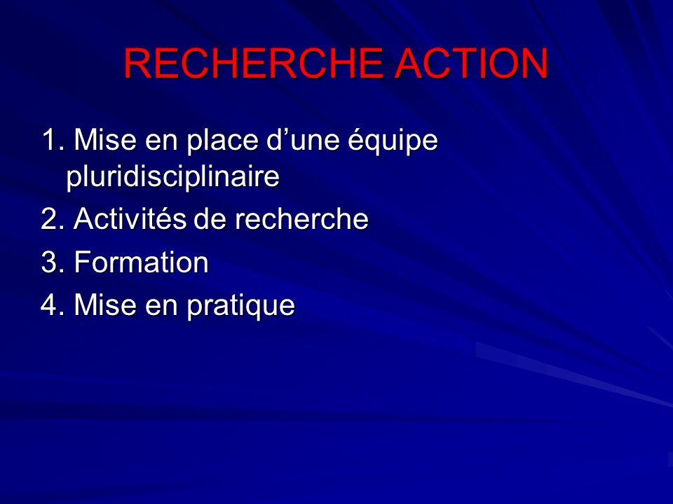 RECHERCHE ACTION 1. Mise en place dune équipe pluridisciplinaire 2. Activités de recherche 3. Formation 4. Mise en pratique