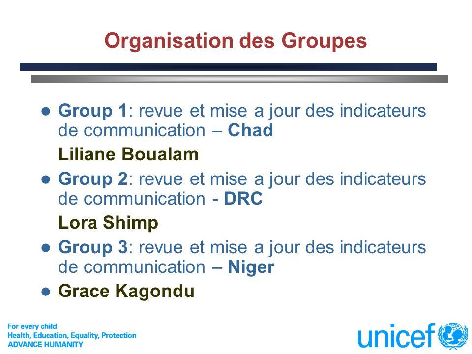 2 Organisation des Groupes Group 1: revue et mise a jour des indicateurs de communication – Chad Liliane Boualam Group 2: revue et mise a jour des ind