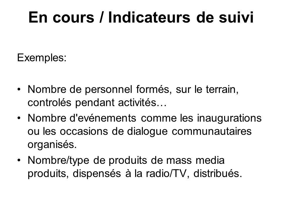 En cours / Indicateurs de suivi Exemples: Nombre de personnel formés, sur le terrain, controlés pendant activités… Nombre d'evénements comme les inaug