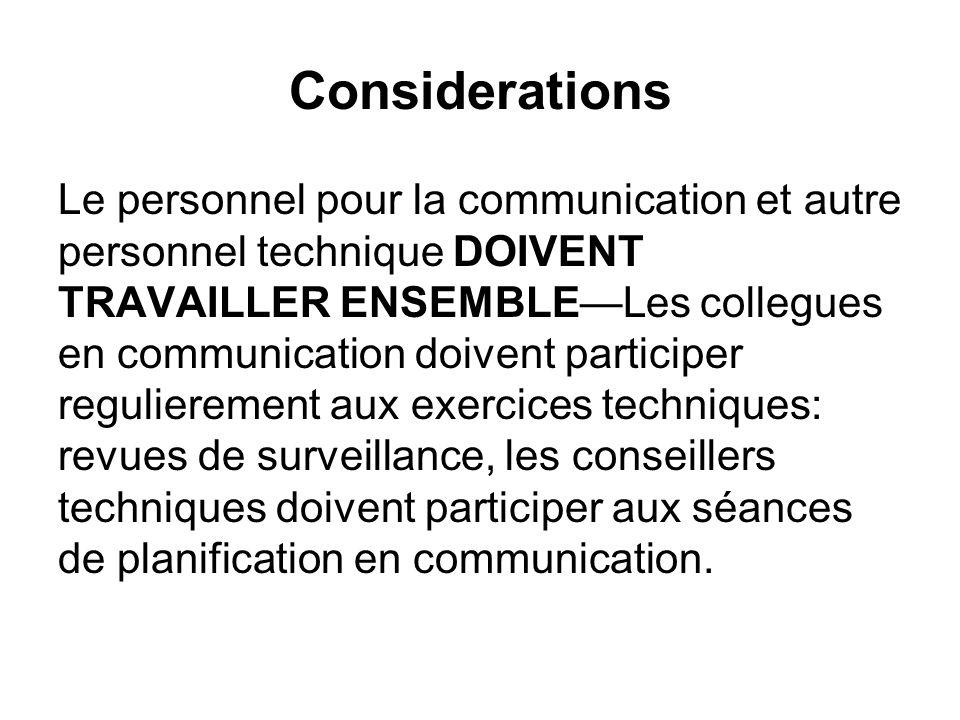 Considerations Le personnel pour la communication et autre personnel technique DOIVENT TRAVAILLER ENSEMBLELes collegues en communication doivent parti