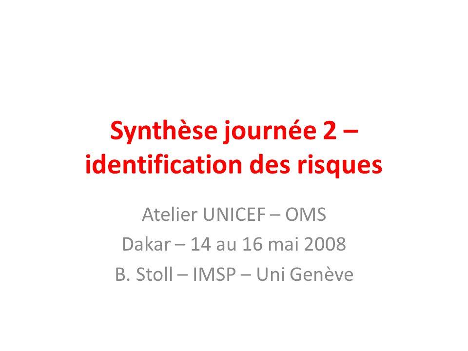 Synthèse journée 2 – identification des risques Atelier UNICEF – OMS Dakar – 14 au 16 mai 2008 B.