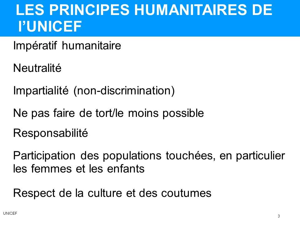 LES PRINCIPES HUMANITAIRES DE lUNICEF Impartialité (non-discrimination) Neutralité Impératif humanitaire Ne pas faire de tort/le moins possible Responsabilité Respect de la culture et des coutumes Participation des populations touchées, en particulier les femmes et les enfants 3 UNICEF