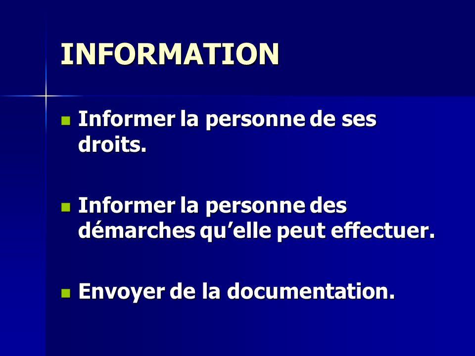 INFORMATION Informer la personne de ses droits. Informer la personne de ses droits. Informer la personne des démarches quelle peut effectuer. Informer