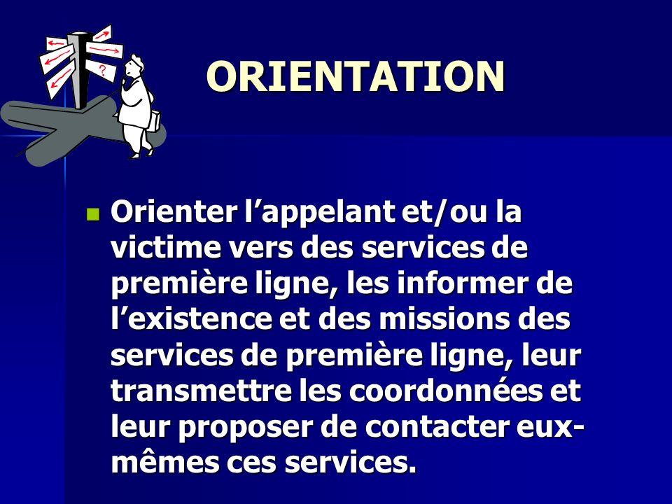ORIENTATION Orienter lappelant et/ou la victime vers des services de première ligne, les informer de lexistence et des missions des services de premiè