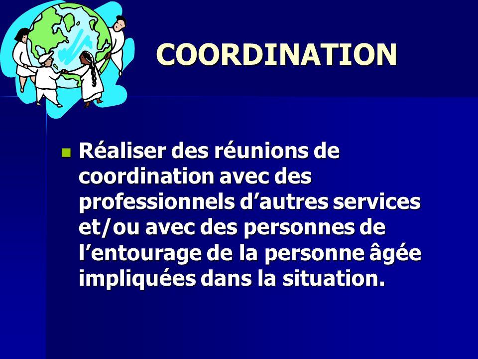 COORDINATION Réaliser des réunions de coordination avec des professionnels dautres services et/ou avec des personnes de lentourage de la personne âgée