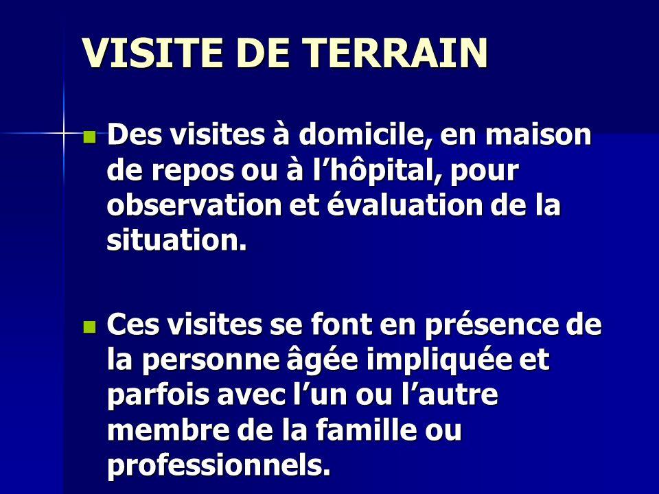 VISITE DE TERRAIN Des visites à domicile, en maison de repos ou à lhôpital, pour observation et évaluation de la situation. Des visites à domicile, en