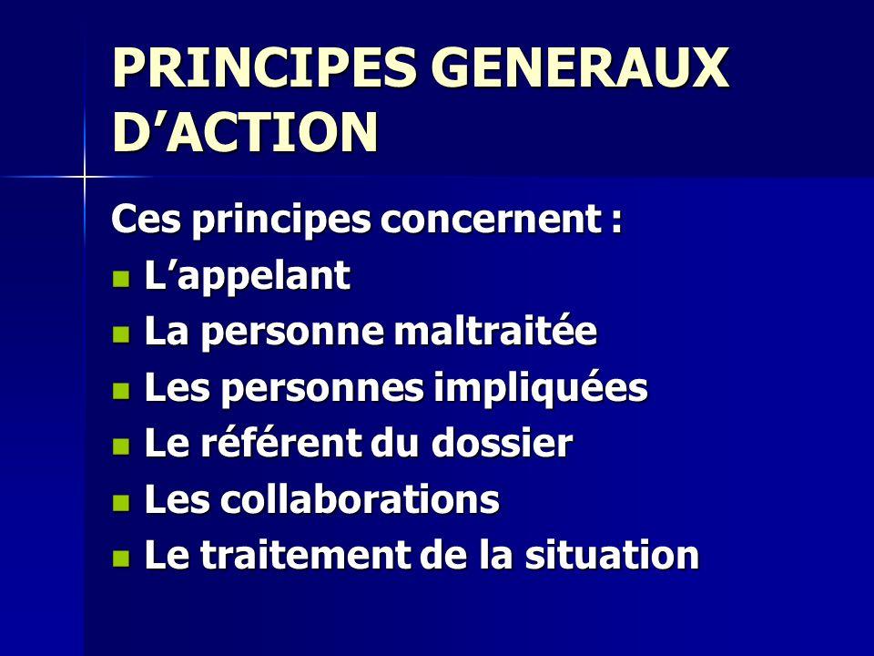 PRINCIPES GENERAUX DACTION Ces principes concernent : Lappelant Lappelant La personne maltraitée La personne maltraitée Les personnes impliquées Les p