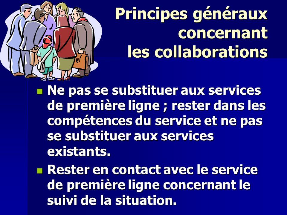 Principes généraux concernant les collaborations Ne pas se substituer aux services de première ligne ; rester dans les compétences du service et ne pa
