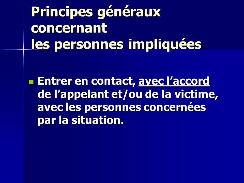 Principes généraux concernant les personnes impliquées Entrer en contact, avec laccord de lappelant et/ou de la victime, avec les personnes concernées