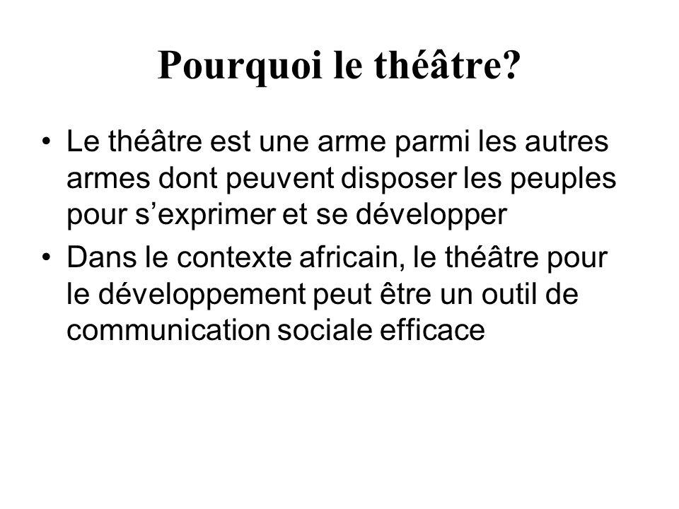 Pourquoi le théâtre? Le théâtre est une arme parmi les autres armes dont peuvent disposer les peuples pour sexprimer et se développer Dans le contexte