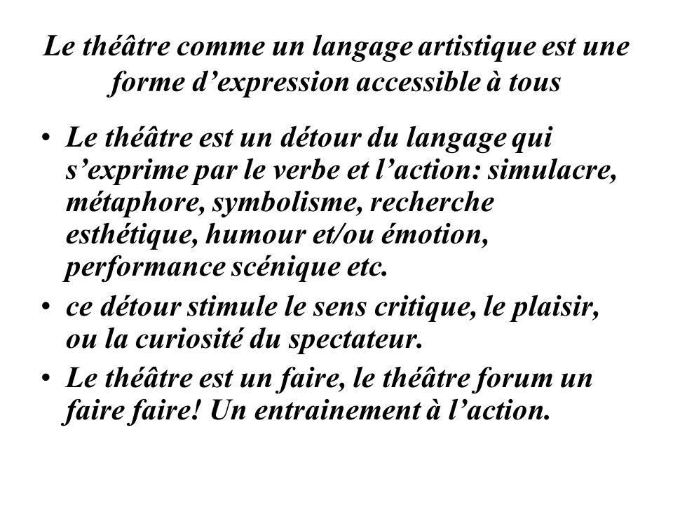 Le théâtre comme un langage artistique est une forme dexpression accessible à tous Le théâtre est un détour du langage qui sexprime par le verbe et la
