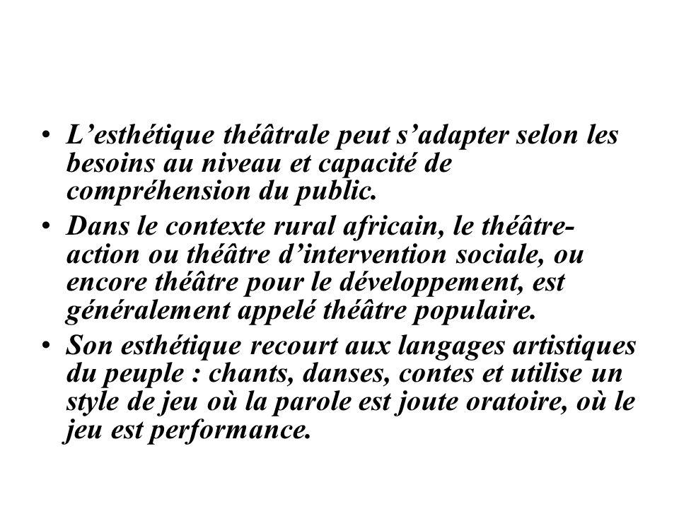 Lesthétique théâtrale peut sadapter selon les besoins au niveau et capacité de compréhension du public. Dans le contexte rural africain, le théâtre- a