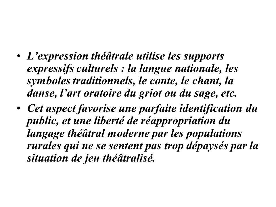 Lexpression théâtrale utilise les supports expressifs culturels : la langue nationale, les symboles traditionnels, le conte, le chant, la danse, lart