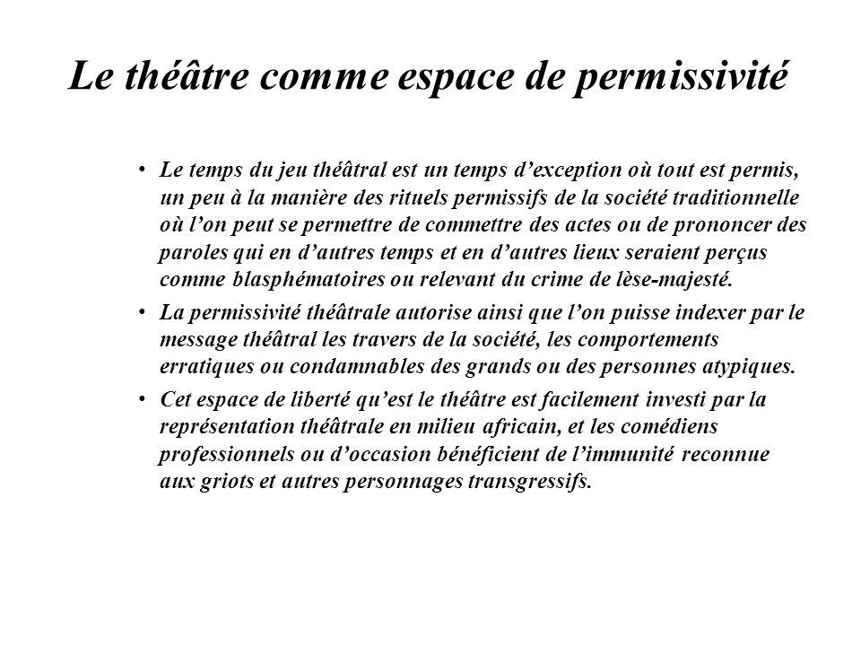 Le théâtre comme espace de permissivité Le temps du jeu théâtral est un temps dexception où tout est permis, un peu à la manière des rituels permissif