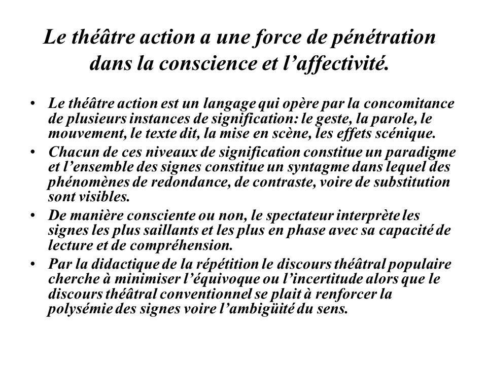 Le théâtre action a une force de pénétration dans la conscience et laffectivité. Le théâtre action est un langage qui opère par la concomitance de plu