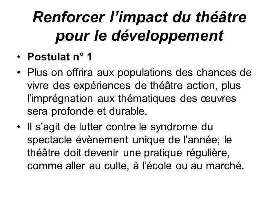 Renforcer limpact du théâtre pour le développement Postulat n° 1 Plus on offrira aux populations des chances de vivre des expériences de théâtre actio