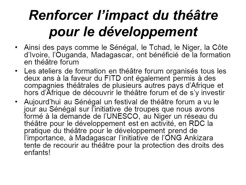Renforcer limpact du théâtre pour le développement Ainsi des pays comme le Sénégal, le Tchad, le Niger, la Côte dIvoire, lOuganda, Madagascar, ont bén