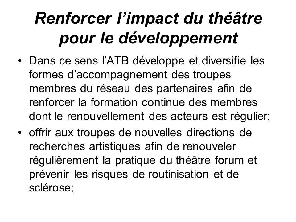 Renforcer limpact du théâtre pour le développement Dans ce sens lATB développe et diversifie les formes daccompagnement des troupes membres du réseau