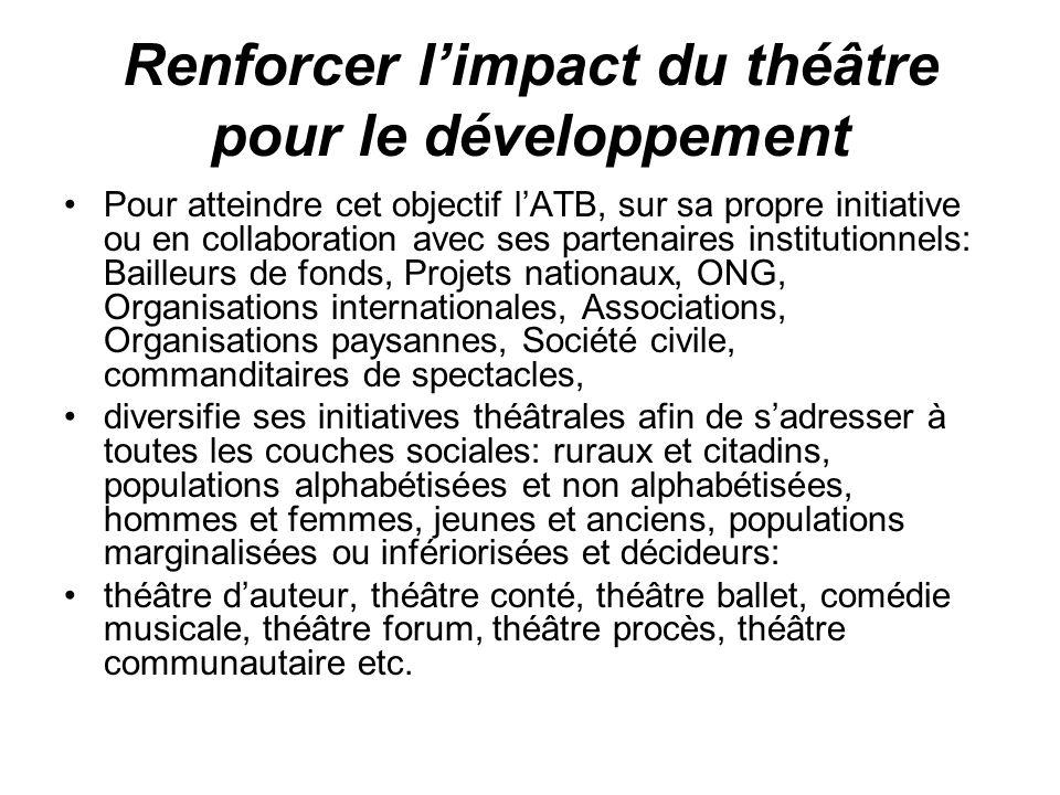 Renforcer limpact du théâtre pour le développement Pour atteindre cet objectif lATB, sur sa propre initiative ou en collaboration avec ses partenaires