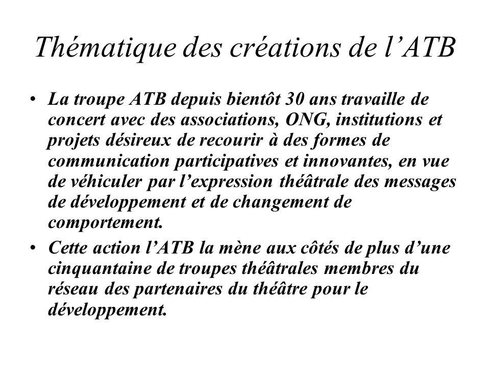 Thématique des créations de lATB La troupe ATB depuis bientôt 30 ans travaille de concert avec des associations, ONG, institutions et projets désireux