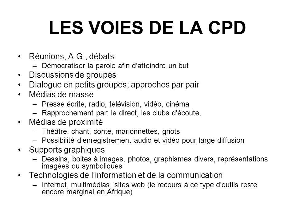 LES VOIES DE LA CPD Réunions, A.G., débats –Démocratiser la parole afin datteindre un but Discussions de groupes Dialogue en petits groupes; approches