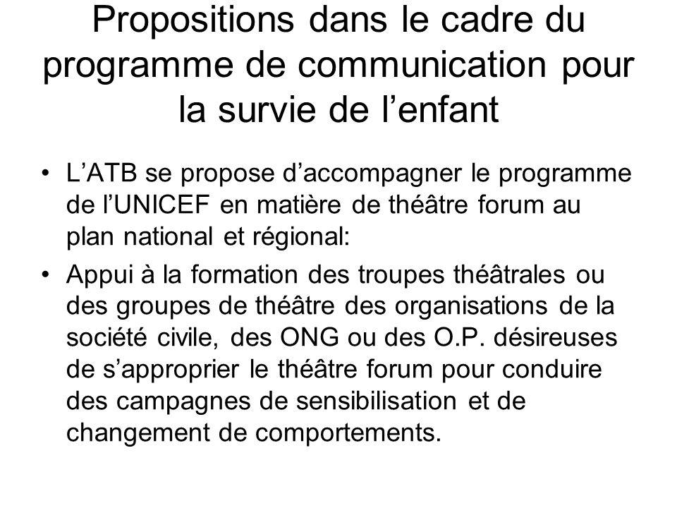 Propositions dans le cadre du programme de communication pour la survie de lenfant LATB se propose daccompagner le programme de lUNICEF en matière de