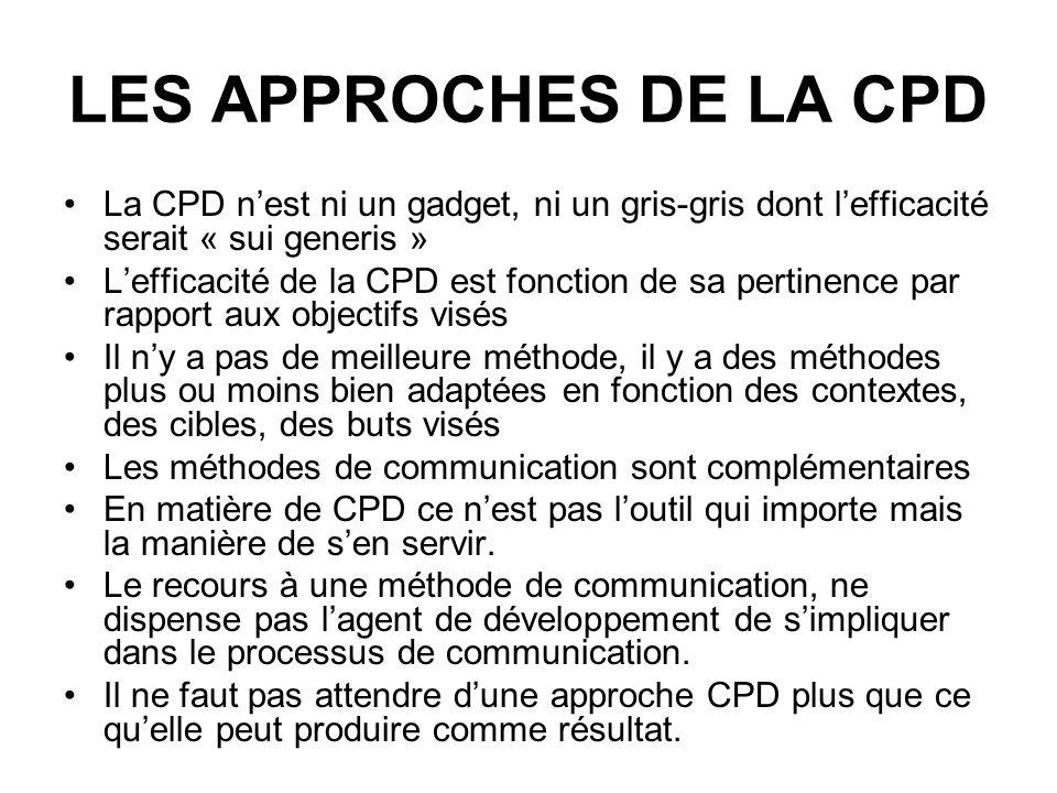 LES APPROCHES DE LA CPD La CPD nest ni un gadget, ni un gris-gris dont lefficacité serait « sui generis » Lefficacité de la CPD est fonction de sa per