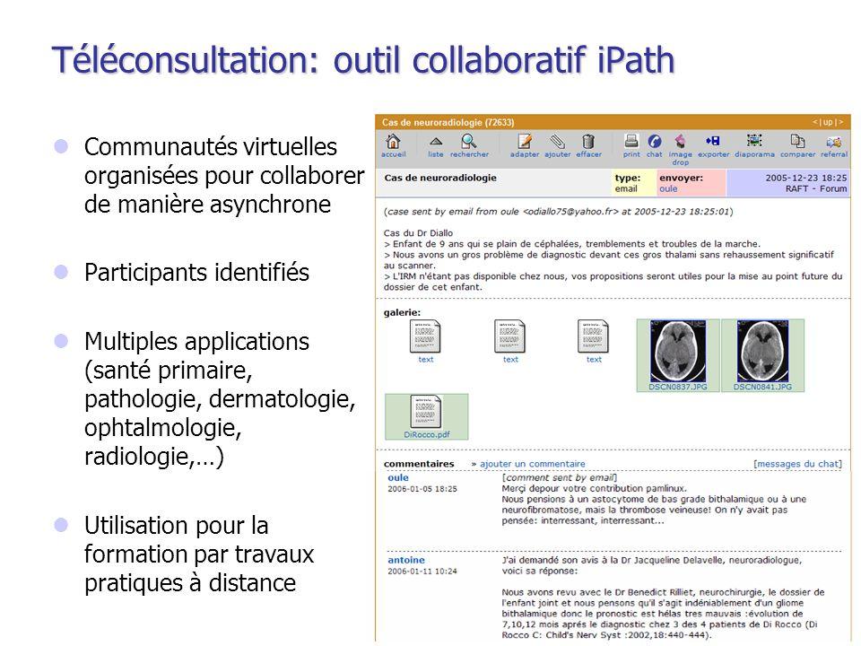 Téléconsultation: outil collaboratif iPath Communautés virtuelles organisées pour collaborer de manière asynchrone Participants identifiés Multiples a