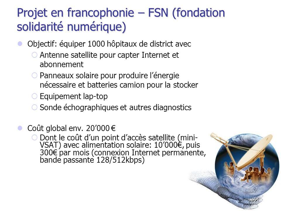 Projet en francophonie – FSN (fondation solidarité numérique) Objectif: équiper 1000 hôpitaux de district avec Antenne satellite pour capter Internet