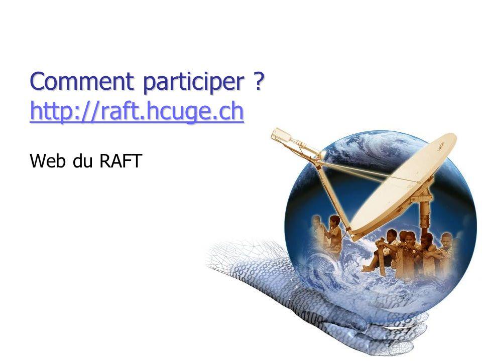Comment participer ? http://raft.hcuge.ch http://raft.hcuge.ch Web du RAFT