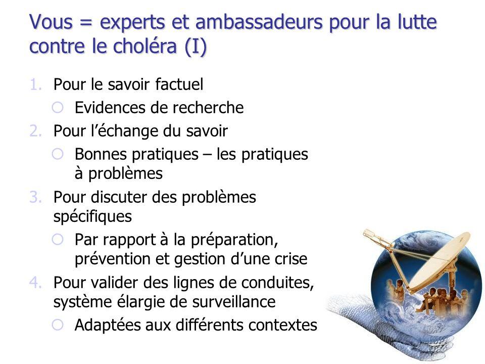 Vous = experts et ambassadeurs pour la lutte contre le choléra (I) 1.Pour le savoir factuel Evidences de recherche 2.Pour léchange du savoir Bonnes pr