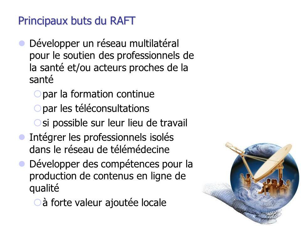 Principaux buts du RAFT Développer un réseau multilatéral pour le soutien des professionnels de la santé et/ou acteurs proches de la santé par la form
