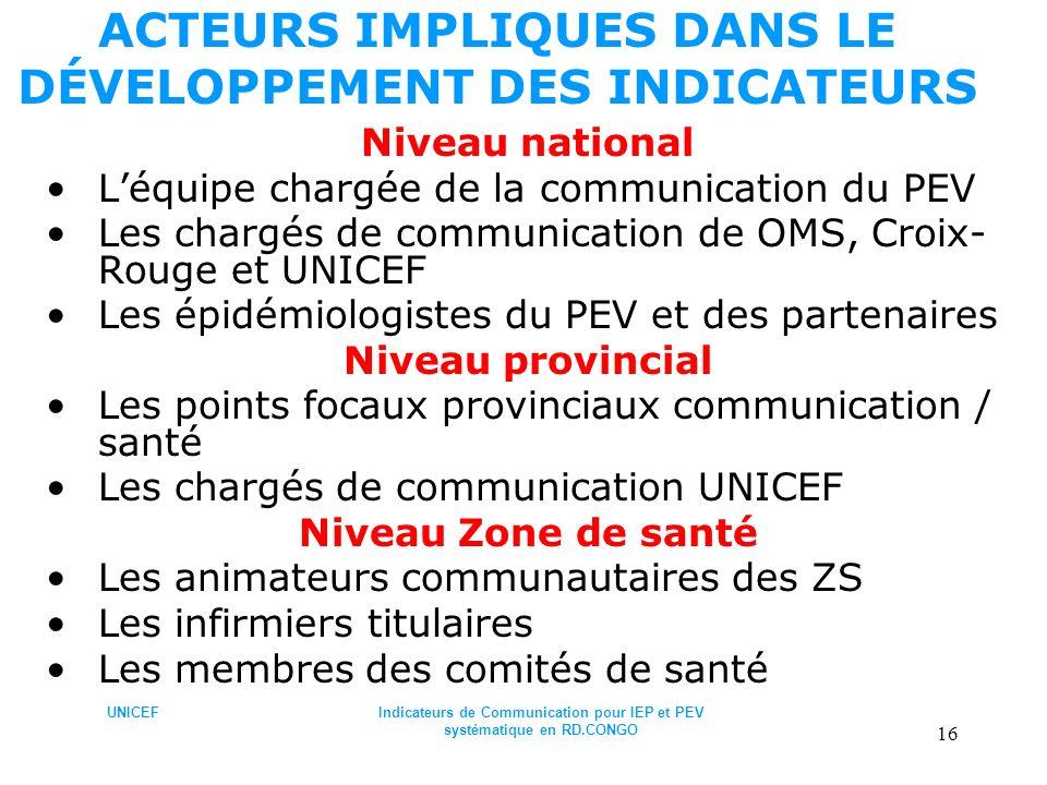 UNICEFIndicateurs de Communication pour IEP et PEV systématique en RD.CONGO 16 ACTEURS IMPLIQUES DANS LE DÉVELOPPEMENT DES INDICATEURS Niveau national