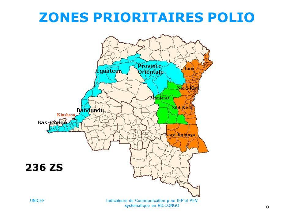 UNICEFIndicateurs de Communication pour IEP et PEV systématique en RD.CONGO 6 ZONES PRIORITAIRES POLIO Bandundu Bas-Congo Equateur Province Orientale