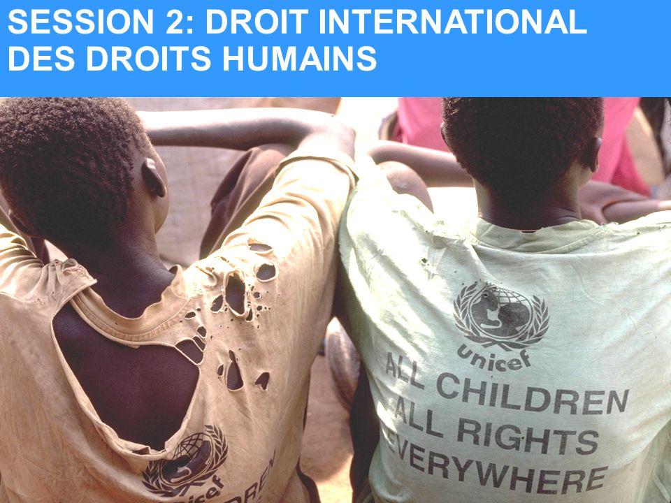 UNICEF SESSION 2: DROIT INTERNATIONAL DES DROITS HUMAINS
