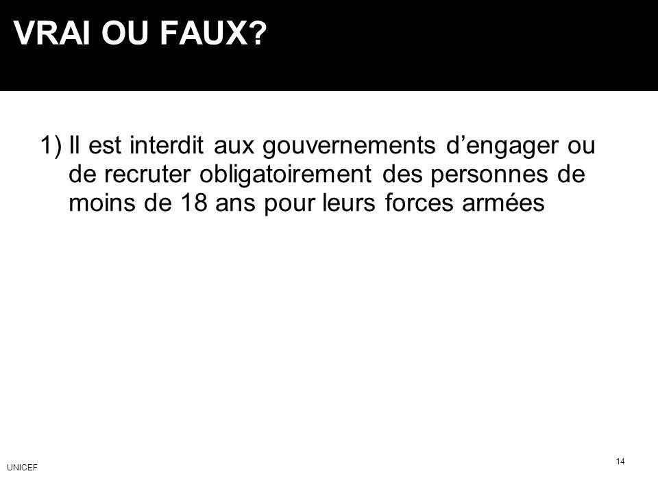 1) Il est interdit aux gouvernements dengager ou de recruter obligatoirement des personnes de moins de 18 ans pour leurs forces armées VRAI OU FAUX? 1