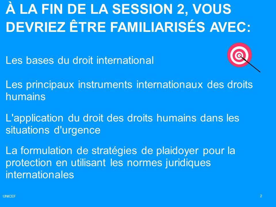 À LA FIN DE LA SESSION 2, VOUS DEVRIEZ ÊTRE FAMILIARISÉS AVEC: Les bases du droit international 2 Les principaux instruments internationaux des droits