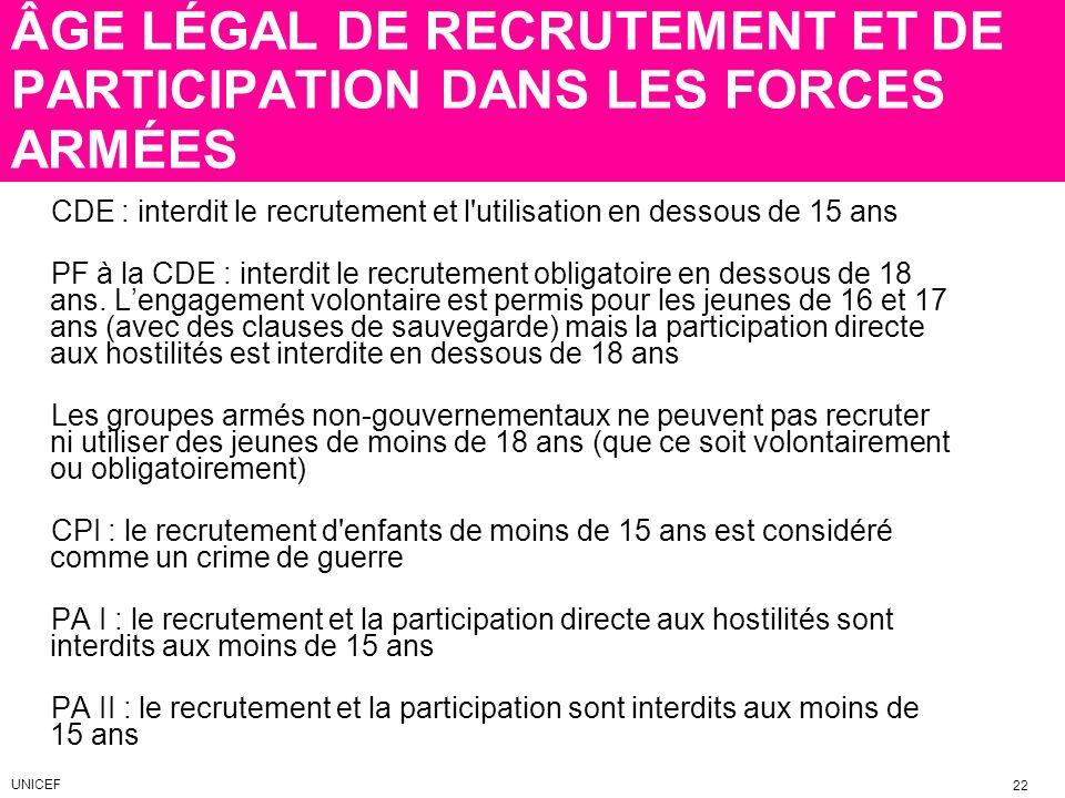 ÂGE LÉGAL DE RECRUTEMENT ET DE PARTICIPATION DANS LES FORCES ARMÉES CDE : interdit le recrutement et l'utilisation en dessous de 15 ans PF à la CDE :
