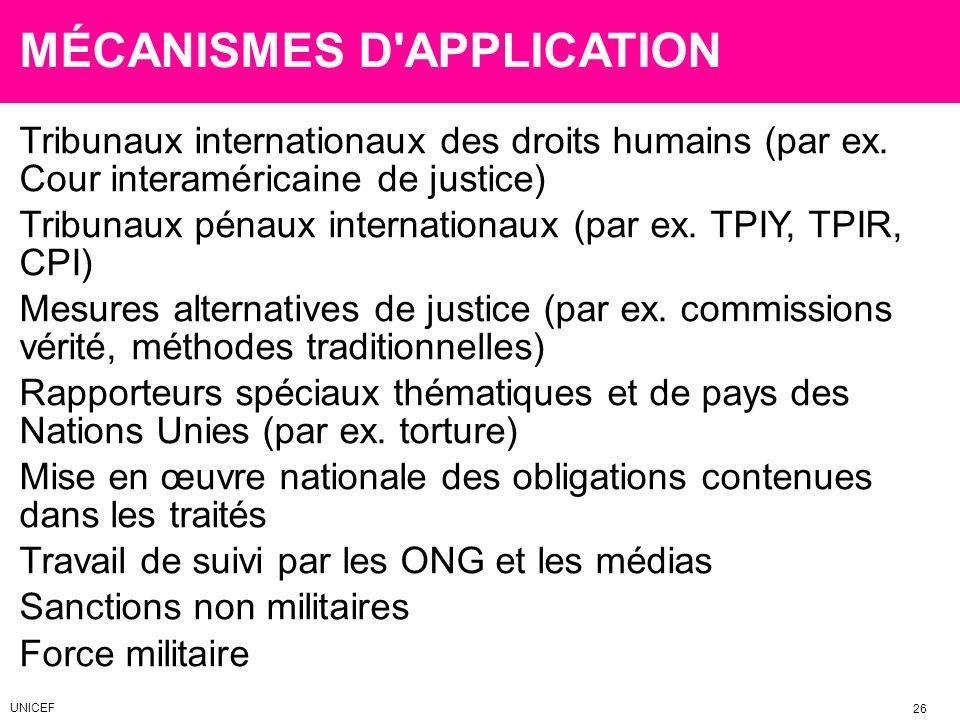 MÉCANISMES D'APPLICATION Tribunaux internationaux des droits humains (par ex. Cour interaméricaine de justice) Tribunaux pénaux internationaux (par ex