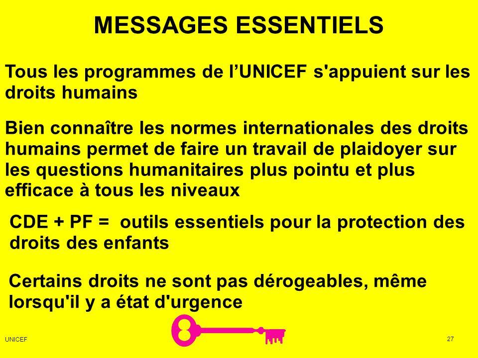 MESSAGES ESSENTIELS Certains droits ne sont pas dérogeables, même lorsqu'il y a état d'urgence Bien connaître les normes internationales des droits hu