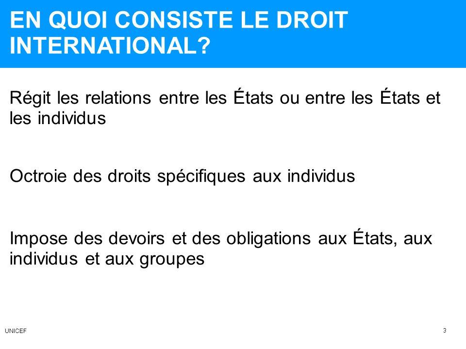 SOURCES PRINCIPALES DU DROIT INTERNATIONAL Normes internationales coutumières Conventions ou traités internationaux 4 UNICEF