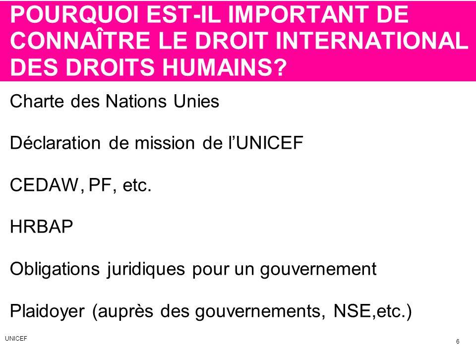 POURQUOI EST-IL IMPORTANT DE CONNAÎTRE LE DROIT INTERNATIONAL DES DROITS HUMAINS? Charte des Nations Unies Déclaration de mission de lUNICEF CEDAW, PF