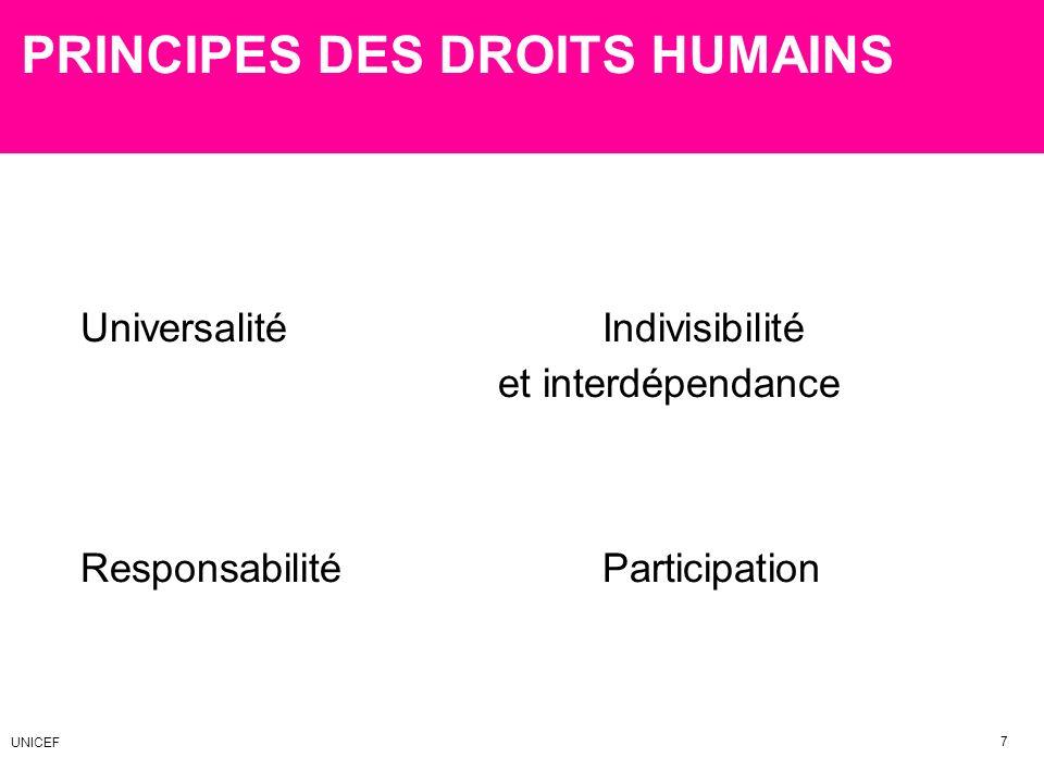 PRINCIPES DES DROITS HUMAINS Universalité Indivisibilité et interdépendance Responsabilité Participation 7 UNICEF