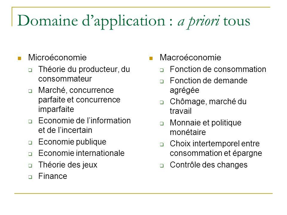 Domaine dapplication : a priori tous Microéconomie Théorie du producteur, du consommateur Marché, concurrence parfaite et concurrence imparfaite Econo