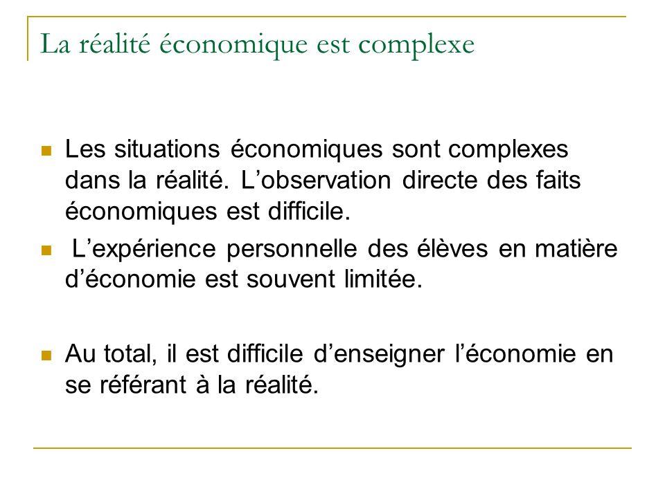 La réalité économique est complexe Les situations économiques sont complexes dans la réalité. Lobservation directe des faits économiques est difficile