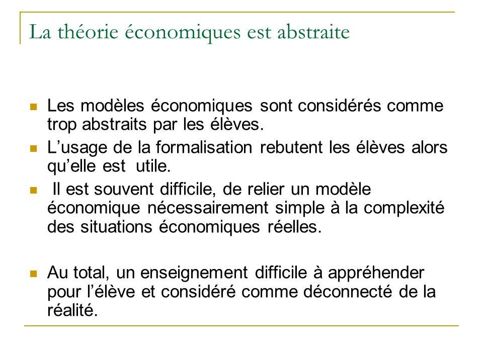 La théorie économiques est abstraite Les modèles économiques sont considérés comme trop abstraits par les élèves. Lusage de la formalisation rebutent